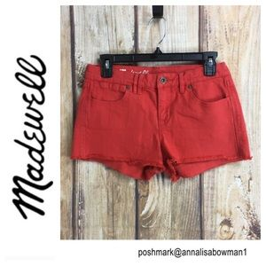 💸Madewell red jean cutoff shorts size 26